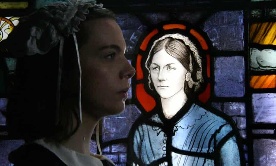 A stained glass image of Nightingale, at an exhibition marking the 200th anniversary of her birth.