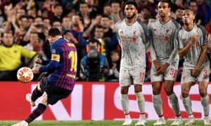 Lionel Messi whips in a sublime free-kick for his second and Barcelona's third goal of another Champions League semi-final he bent to his will.