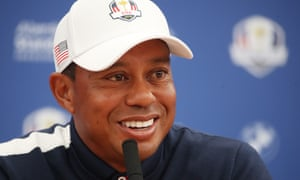 Tiger Woods, the current world No13, shares his thoughts at Le Golf National on Tuesday.