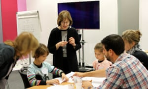 Drawing facial expressions with Posy Simmonds at Guardian cartoon and art family day, 10 October 2015.