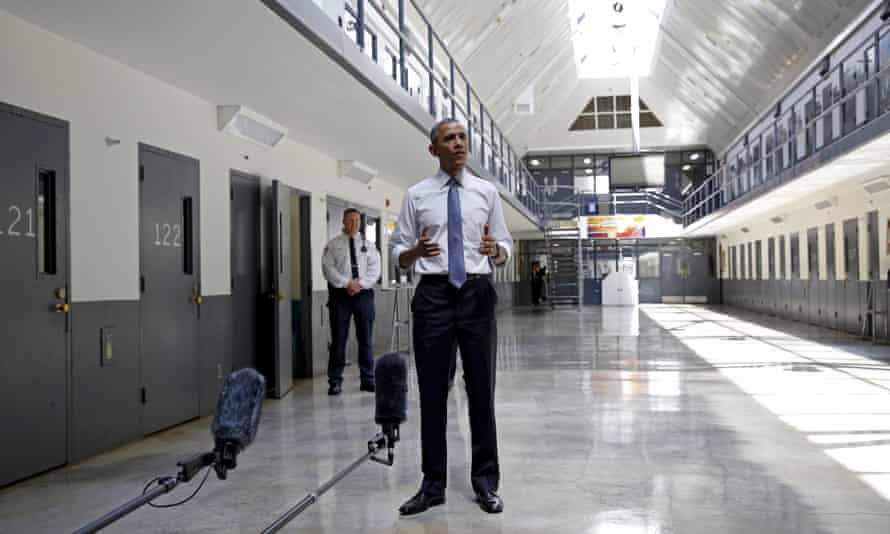 Barack Obama speaking at a correctional institution outside Oklahoma City in July 2015.