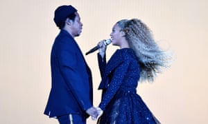 Beyoncé and Jay-Z on stage during their On The Run II tour in Cardiff in June