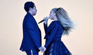 Beyonce and Jay-Z performing in Cardiff.