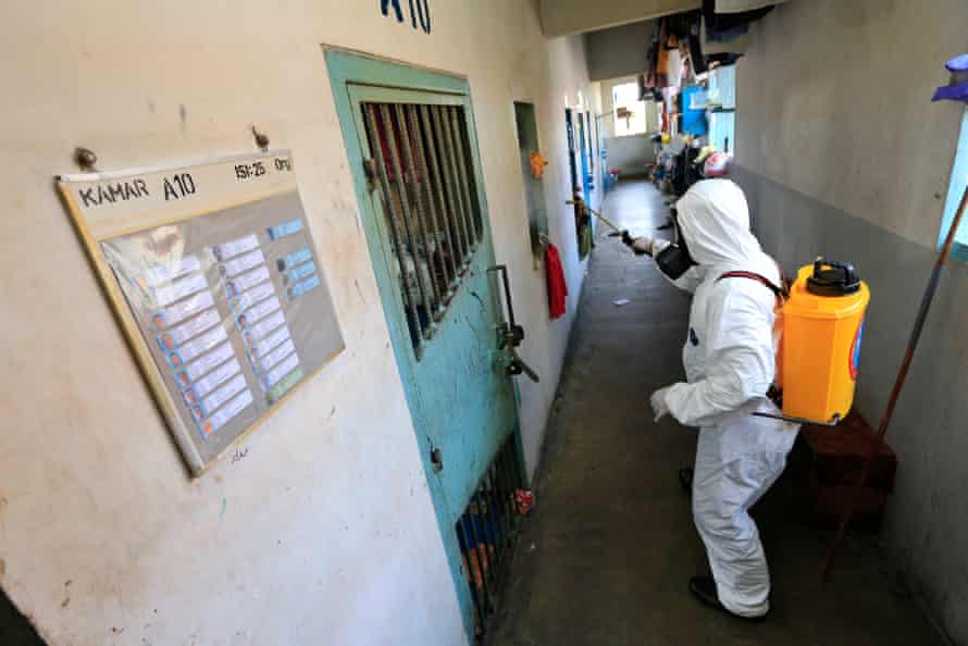 Cells are sprayed with disinfectant to prevent the spread of the coronavirus in Batam City, Indonesia.