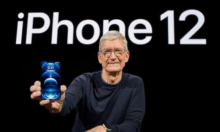 Apple's chief executive, Tim Cook, with the new iPhone 12 Pro