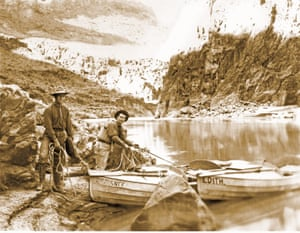 The adventurers and photographers Ellsworth and Emery Kolb on the Colorado river, circa 1911-12. 'Ellsworth and Emery Kolb were the last of the Grand Canyon pioneers, and the most colorful,' says Roger Naylor, who wrote a book about the brothers. 'They dangled from ropes, clung to sheer cliff walls by their fingertips, climbed virtually inaccessible summits, ran seemingly impassable white-water rapids, braved the elements, and ventured into unknown wilderness – all for the sake of a photo.'