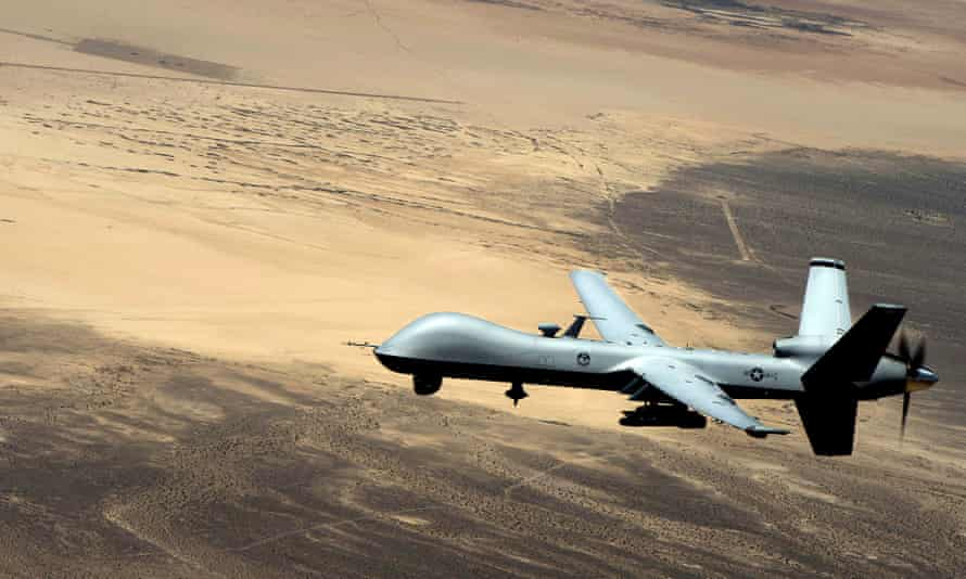 A General Atomics MQ-9 Reaper (formerly named Predator B) unmanned aerial vehicle, or drone.