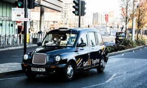 A black cab sporting Gett Together branding in London