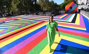 The British artist Lakwena Maciver with her new installation at the Artist's Garden on the roof of Temple tube station in London, England