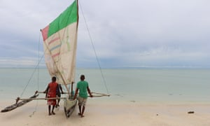 Fishermen in Madagascar with a Pirogue