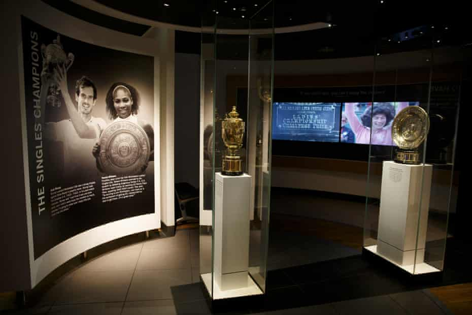 The singles trophies on display in the Wimbledon museum.