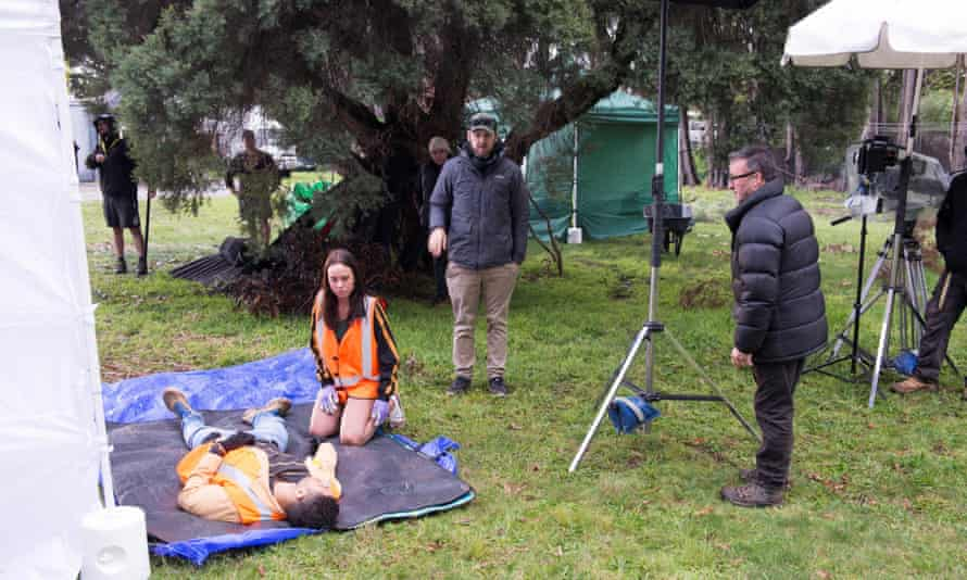 Actors and crew of Neighbours during filming in Melbourne