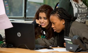 Students going though clearing after collecting their A-level results at Shooters Hill campus, London.