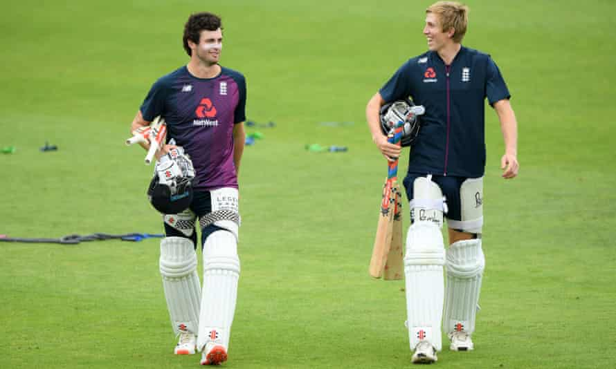 Dom Sibley (left) heads to the nets with Zak Crawley as they prepare for England's Test series against West Indies.
