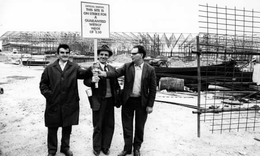 Striking building workers in September 1972.