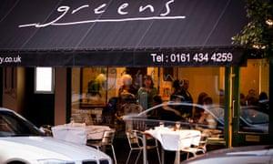 Exterior of Greens restaurant, Manchester