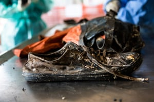 The single shoe of one of the victims of the shipwrec