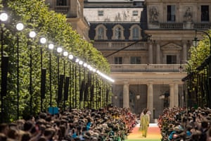 The rainbow-infused runway at Virgil Abloh's debut Louis Vuitton menswear collection at the Palais-Royale in Paris.