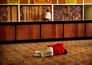 A Redcoat crashed out on the reception floor