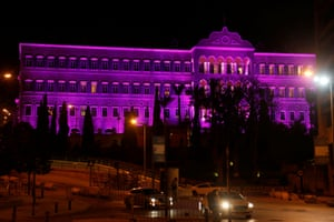 Lebanon's government palace is seen illuminated purple to mark International Women's Day in downtown Beirut, Lebanon March 7, 2017. REUTERS/Mohamed Azakir