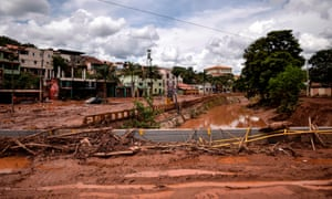 The overflowing Das Velhas River in Sabara, Belo Horizonte, Minas Gerais state, Brazil, on Sunday.