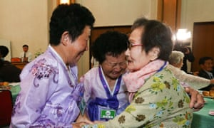South Korean Han Shin-ja, 99 (R), with her North Korean daughters Kim Kyung-Sil, 72, and Kim Kyung-Young, 71