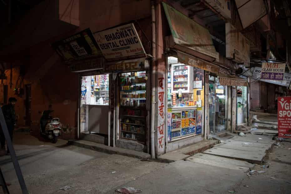 A pharmacy shop in Bhagwanpur Khera, New Delhi, India.
