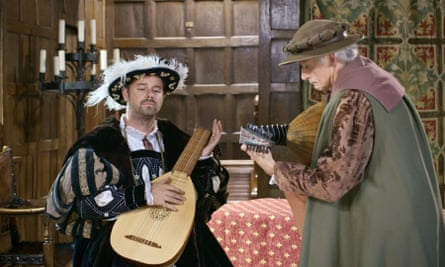 Gimme the lute: Dyer gets a lesson in Tudor songcraft.