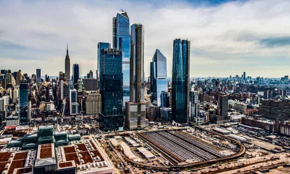 'The hot mess' … the Hudson Yards high-rises with the Shed and Vessel tucked in below and the High Line snaking round.