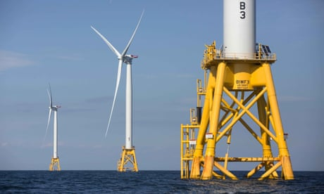 Offshore wind turbines near Block Island, Rhode Island.