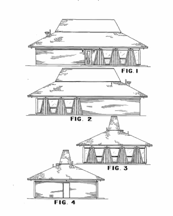 Shallow base … 1965 patents for a Pizza Hut building.