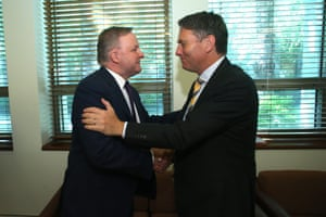 The opposition leader, Anthony Albanese, is congratulated by his deputy, Richard Marles, after the caucus meeting this morning.