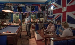British tourists play pool at a English bar in Benalmádena, Spain