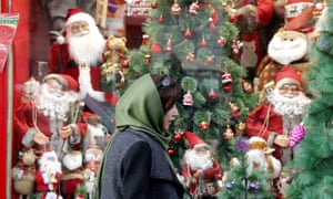 Christmas decorations for sale in Iran.