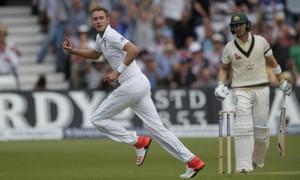 Stuart Broad celebrates the wicket of Michael Clarke