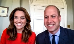 The Duke and Duchess of Cambridge during a video call with veterans from Mais House.