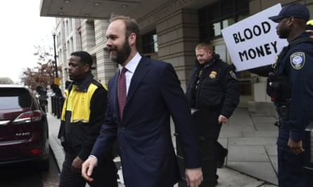 Rick Gates leaves federal court in Washington on Friday. His guilty plea seemed to represent clear and present danger for Manafort.