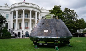 A model of the Orion spacecraft is on display during the showcase