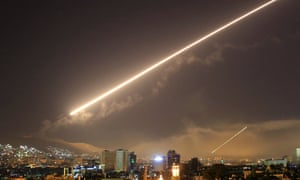 Surface to air missile fire over Damascus during the US-led raid on Syria