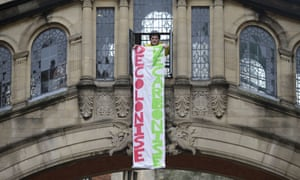 A banner hung from the Bridge of Sighs.