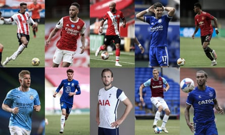 Clockwise from top left: the latest kits at Sheffield United, Arsenal, Southampton, Leicester, Manchester United, Everton, West Ham, Tottenham, Chelsea and Manchester City. Composite: Jim Powell.