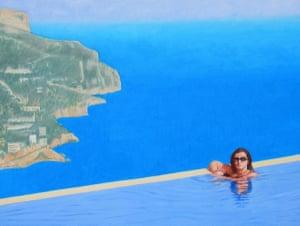 Sophie in infinity pool Spain