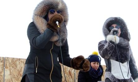 Electropop throat singer Riit (left) at Nunavut music week.