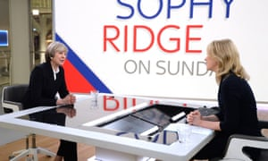 Theresa May (left) is interviewed by Sophy Ridge.