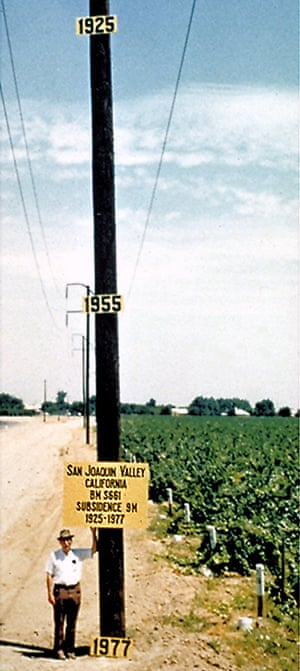 A 1977 photo from the San Joaquin Valley shows subsidence over time as a result of groundwater pumping.