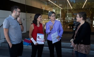 Federal Senate Labor leader Penny Wong and Labor candidate for Adelaide Jo Chapley at a pre-polling station in Adelaide on Thursday.