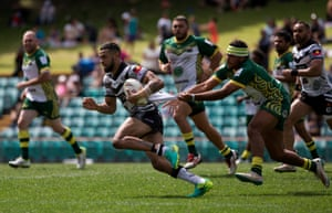 Josh Addo-Carr is tackled in a game Redfern won 30-10
