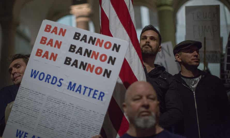 People protesting against the appointment of Stephen Bannon as chief strategist of the White House by President-elect Donald Trump.