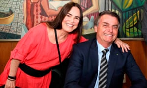 Regina Duarte with Brazilian president Jair Bolsonaro after she agreed to be Brazil's culture minister.