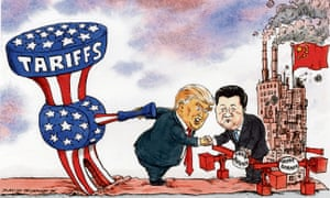Cartoon of Xi shaking hands with Trump, who is carrying a large stars-and-stripes hammer behind his back marked 'tariffs'.